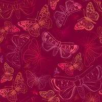 Butterfly seamless pattern. Summer holiday wildlife floral background. vector