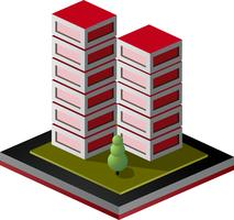 Isometric view of houses in red