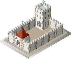 Isometric view of a medieval