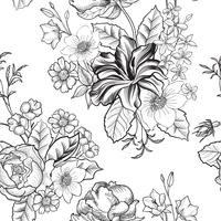 Floral engraved seamless pattern. Flower garden background