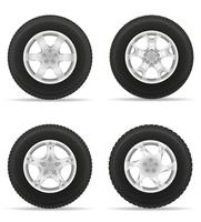 set icons car wheel tire from the disk vector illustration