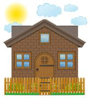 small country house with a wooden fence vector illustration
