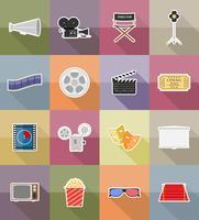 ícones do cinema plana ícones ilustração vetorial plana