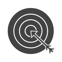Glyph obiettivo nero icona economica