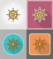 steering wheel for ship flat icons vector illustration