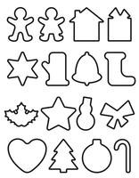 christmas objects line icons vector illustration