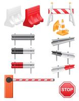 set icons road barrier vector illustration