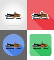 snowmobile for snow ride flat icons vector illustration