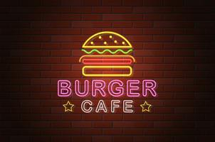 glödande neon skylt burger cafe vektor illustration