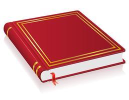 Libro rojo con ilustración vectorial marcador
