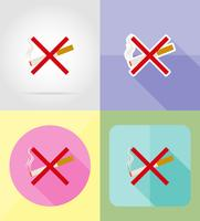 cigarette symbol service flat icons vector illustration