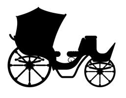 carriage for transportation of people black outline silhouette vector illustration