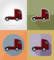 truck for transportation cargo flat icons vector illustration