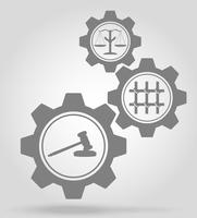 justice gear mechanism concept vector illustration