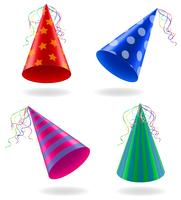set icons caps for birthday celebrations vector illustration