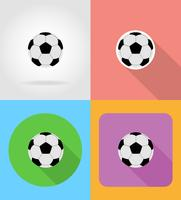 Fútbol fútbol pelota iconos planos vector illustration