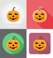 halloween pumpa platt ikoner vektor illustration