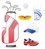 Equipo y ropa para golf vector illustration