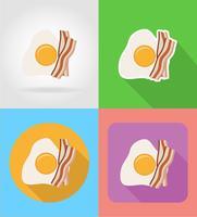 Huevos fritos y tocino iconos planos de comida rápida con la ilustración de vector de sombra