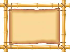 frame made of bamboo and old parchment vector