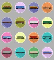 set icons railway carriage train flat icons vector illustration