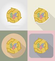 Symbol der flachen Ikonen des Geldwechsels vector Illustration
