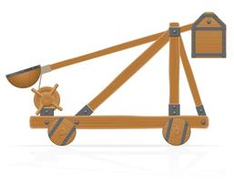 old wooden catapult vector illustration