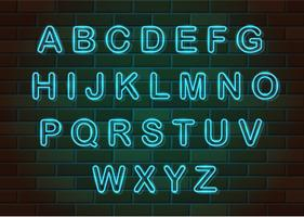 illustration vectorielle de néon brillant lettres alphabet anglais