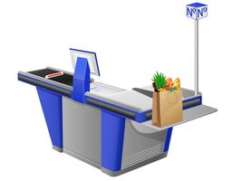 cash register terminal and shopping bag with foods