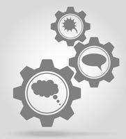 speech bubbles gear mechanism concept vector illustration