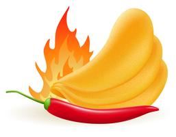 potato chips with hot peppers chili vector illustration