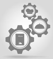 restaurant gear mechanism concept vector illustration