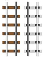 railway rails wooden and concrete sleepers vector illustration