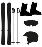 ícone de equipamento de esqui definir ilustração vetorial de silhueta