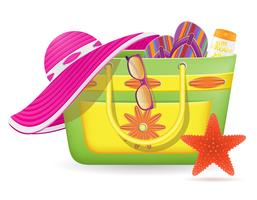 female bag with beach accessories vector illustration