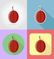 Ciruelas frutas planas iconos conjunto con la ilustración de vector de sombra