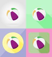 strandbal plat pictogrammen vector illustratie