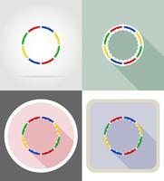 dynamic health hoop for fitness flat icons vector illustration