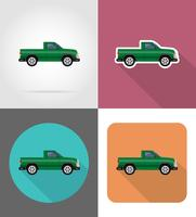car pickup flat icons vector illustration