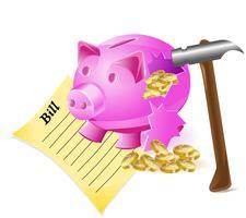 gebroken spaarpot is een rekening van een varkenshamer en gouden munten