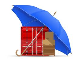concept of protected and insured cargo umbrella vector illustration