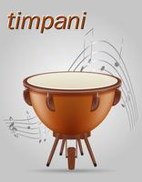 timpani drum musical instruments stock vector illustration