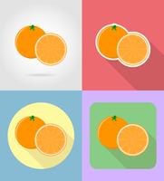 fruits orange plats set d'icônes avec l'illustration vectorielle ombre