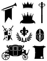 Atributos dorados del rey real de poder medieval contorno negro silueta vector ilustración