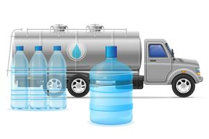 cargo truck delivery and transportation of purified drinking water concept vector illustration