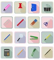 stationery equipment set flat icons vector illustration