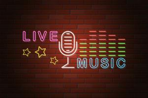 glowing neon signboard live music vector illustration