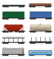 set icons railway carriage train vector illustration