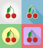 Cerezas frutos planos set iconos con la ilustración de vector de sombra