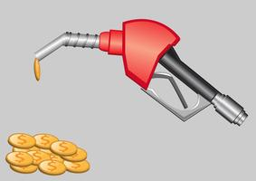 gas pump nozzle and money vector
